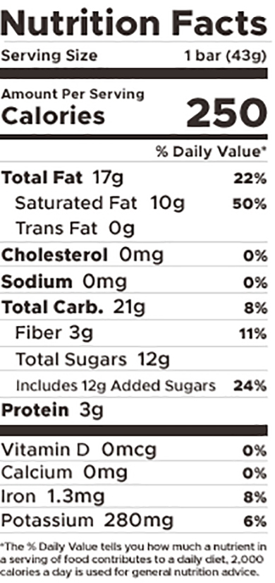 oat milk chocolate candy bar nutrition panel