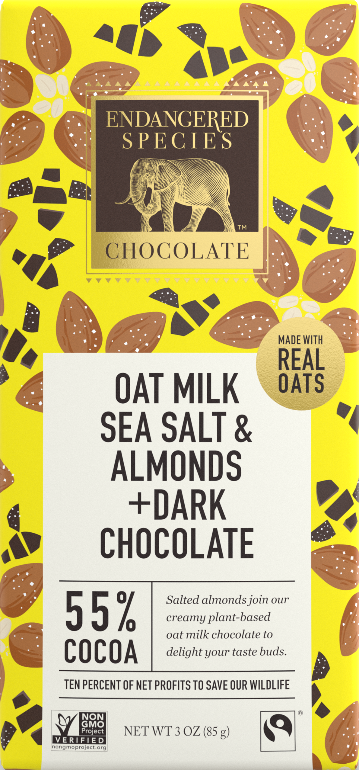oat milk, sea salt, and almonds dark chocolate bar