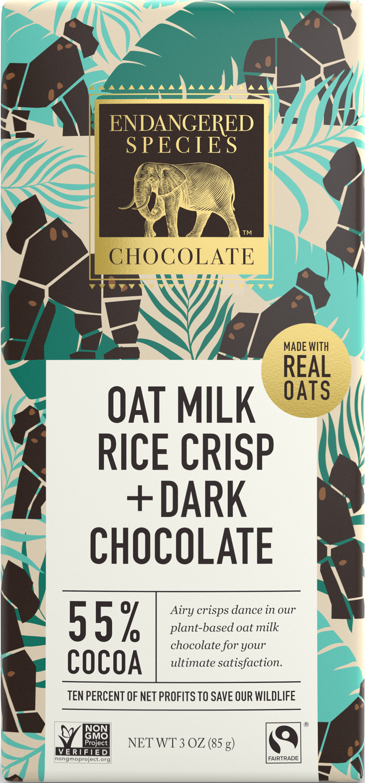 oat milk, rice crisp, and dark chocolate bar
