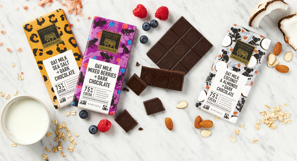 Endangered Species Chocolate 75% Dark Chocolate + Oat Milk Bars