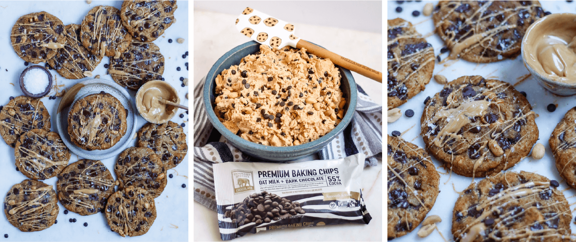 oat milk chocolate peanut butter miso cookies and cookie dough