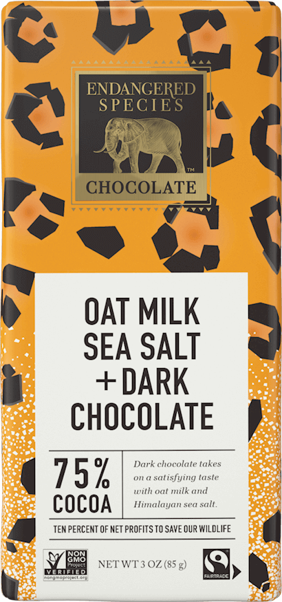 Leopard 75% Dark Chocolate + Oat Milk & Sea Salt