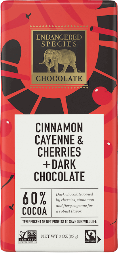60% Dark Chocolate + Cinnamon, Cayenne & Cherries