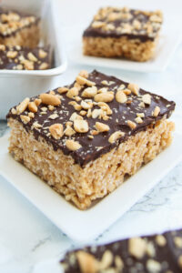 peanut butter rice crispy treat with chocolate on top